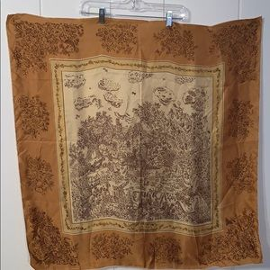 Vtg large gold silk scarf with a stylized scene